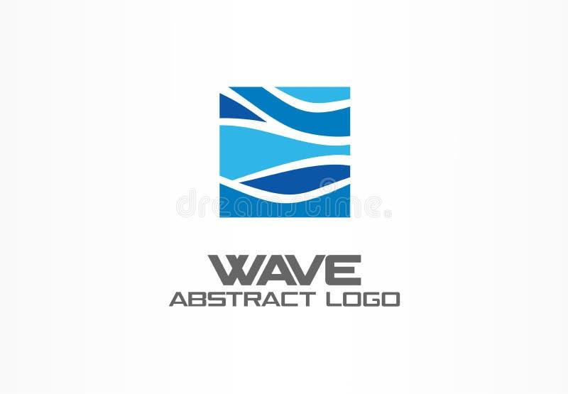 商业公司的抽象商标 自然,海洋, eco,科学,医疗保健略写法想法 生态,蓝色,海,水 向量例证