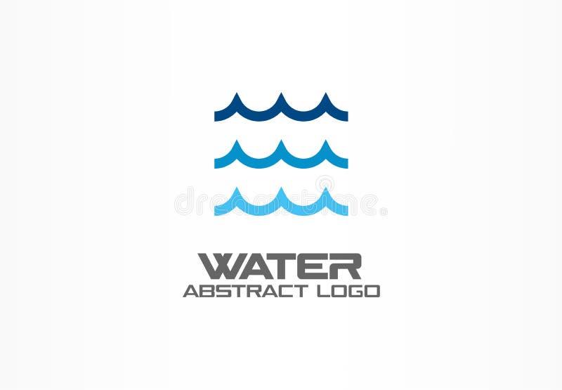 商业公司的抽象商标 Eco海洋,自然,旋涡,温泉,水色漩涡略写法想法 水波,螺旋 向量例证