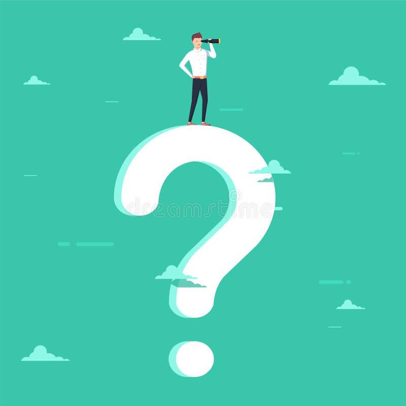 商业决策与站立在巨型问号的商人有远见者的传染媒介概念 企业视觉的标志 皇族释放例证