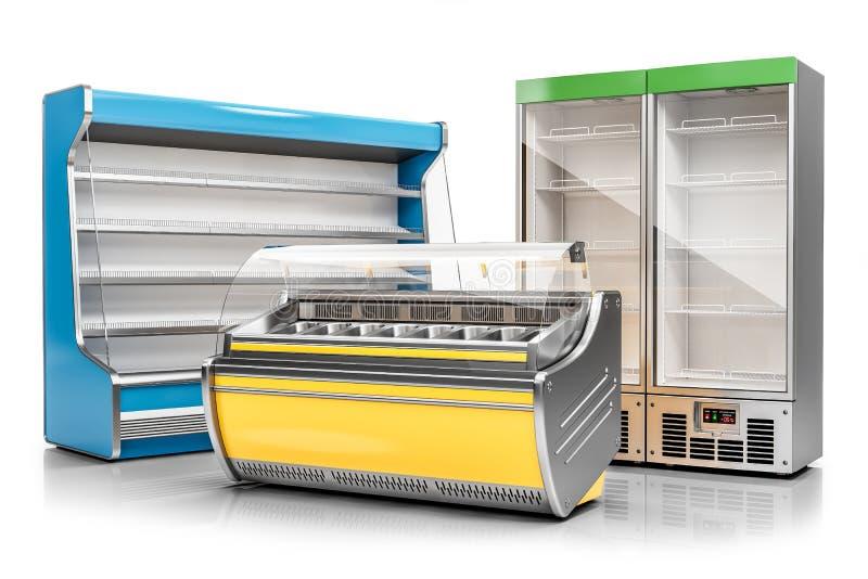 商业冷冻机陈列橱、在白色背景和垂直的冷藏内阁隔绝的冰淇淋陈列室3d 向量例证