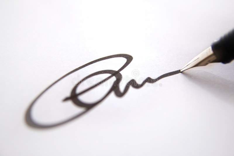 商业函件签名 免版税图库摄影