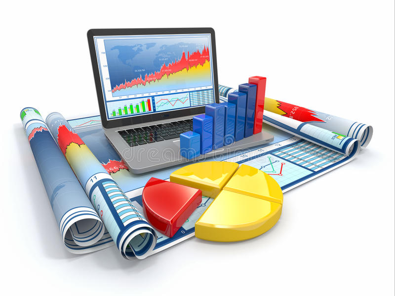 商业分析。 膝上型计算机、图形和绘制。 库存例证