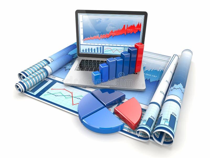商业分析。 膝上型计算机、图形和绘制。 皇族释放例证