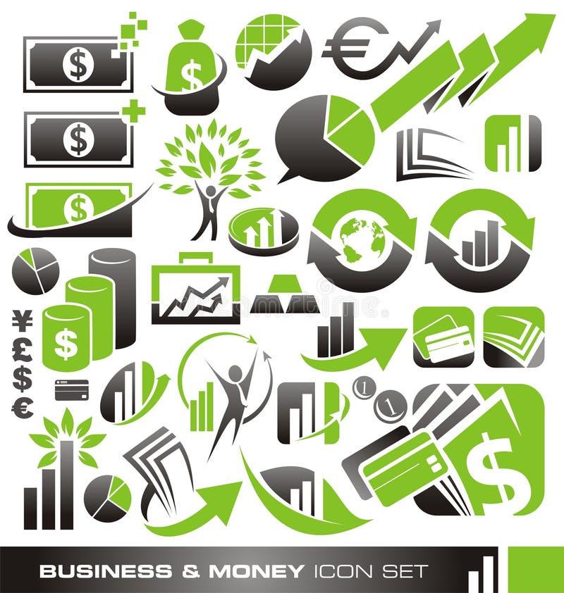 商业和货币图标集 向量例证