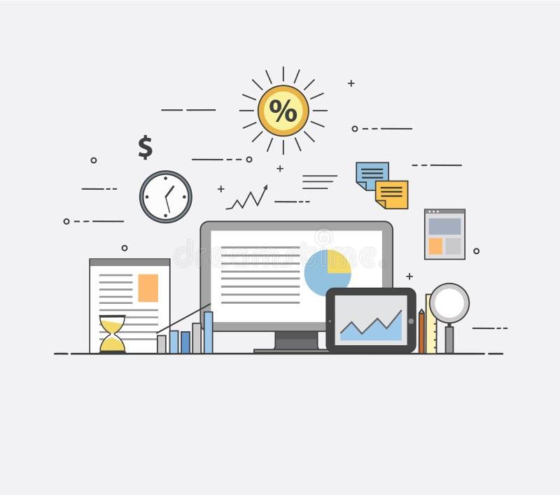 商业和财务 数字技术 图和报告 库存例证