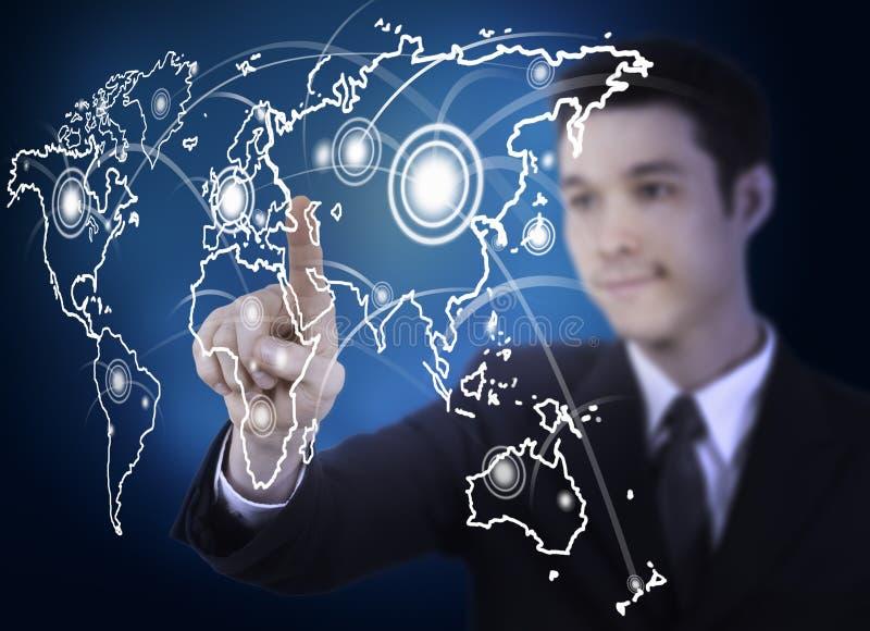 商业图表人映射屏幕世界 免版税库存图片