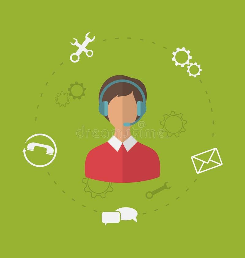 商业客户关心服务,现代平的象的概念  向量例证