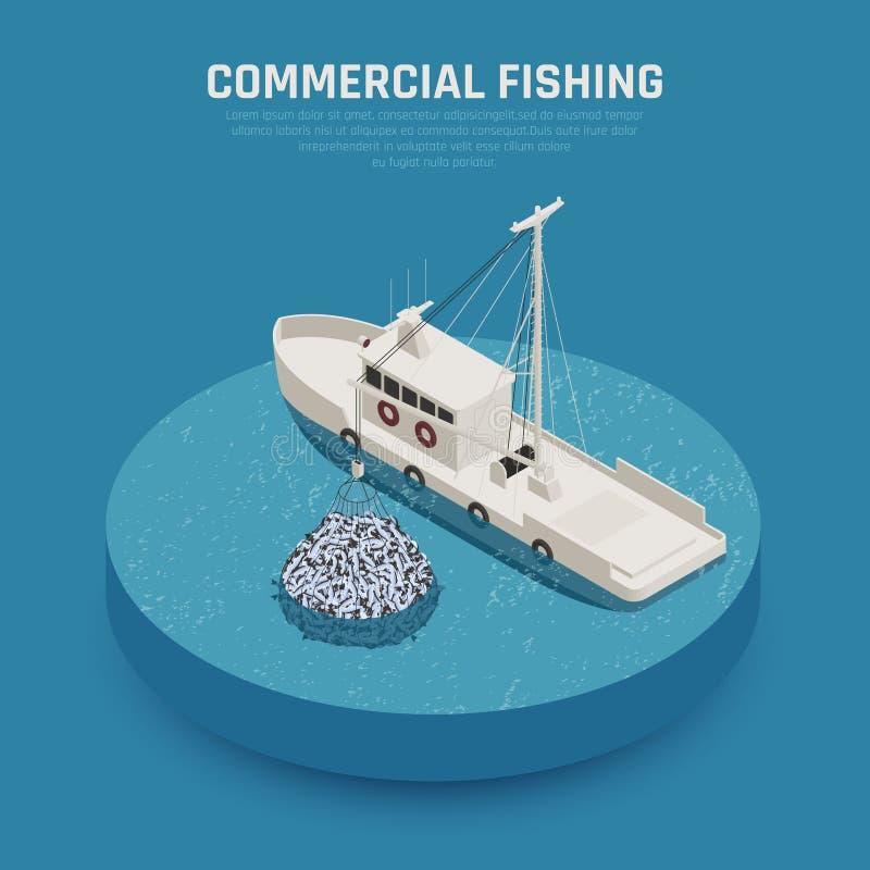 商业性捕鱼船背景 库存例证