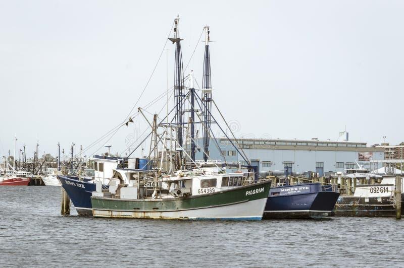 商业性捕鱼船香客和头脑` s眼睛在新靠了码头 免版税图库摄影