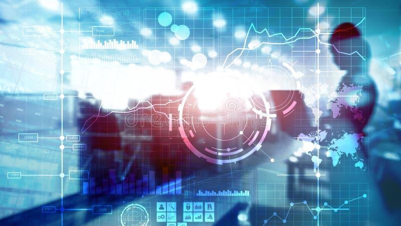 商业情报双主要绩效显示KPI分析仪表板透明被弄脏的背景 免版税库存照片