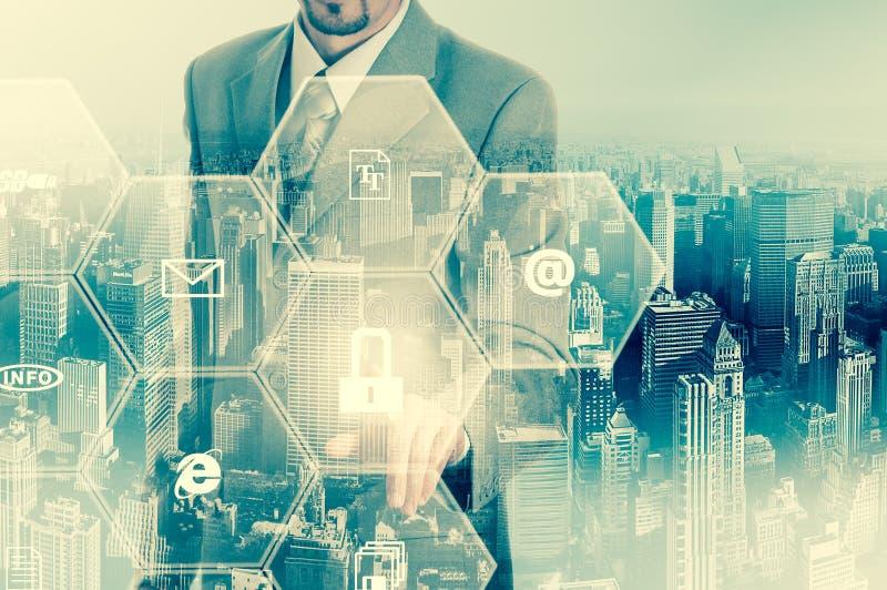 商业情报按概念的人选择数据保护 库存例证
