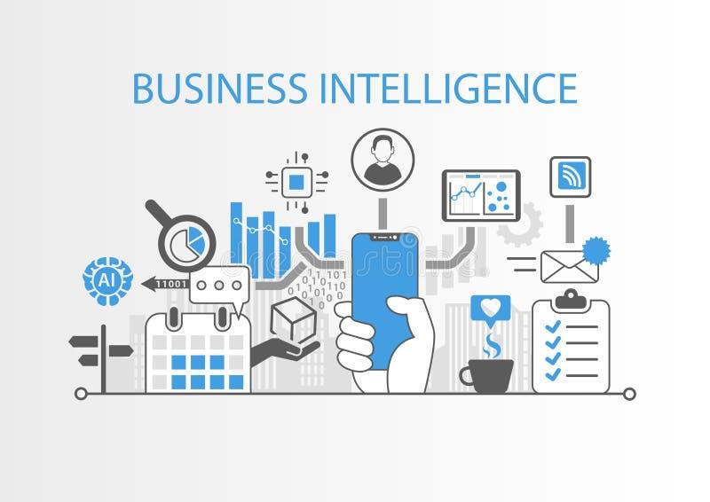 商业情报概念用拿着现代刃角自由智能手机的手 库存例证
