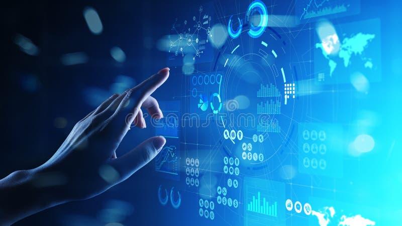 商业情报营销策略在虚屏上的贸易投资应用 概念查出的技术白色 库存例证