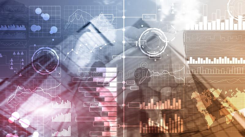 商业情报 图,图表,股票交易,投资仪表板,透明被弄脏的背景 库存图片