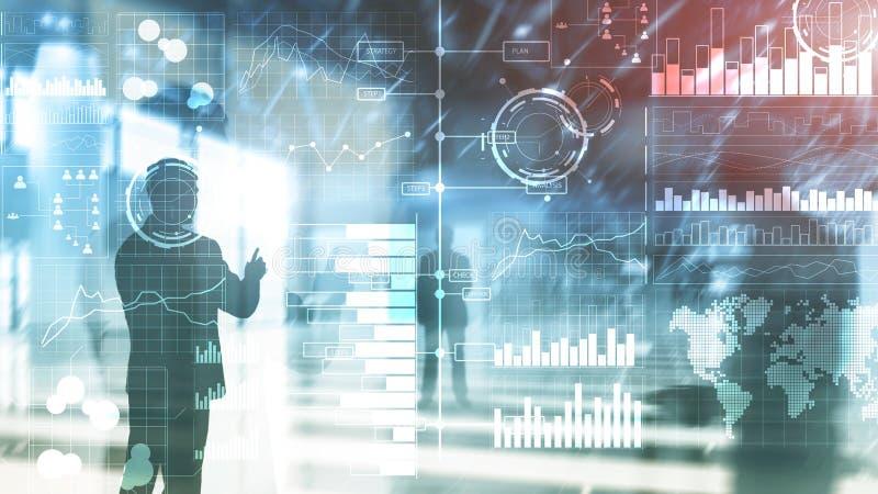 商业情报 图,图表,股票交易,投资仪表板,透明被弄脏的背景 库存例证