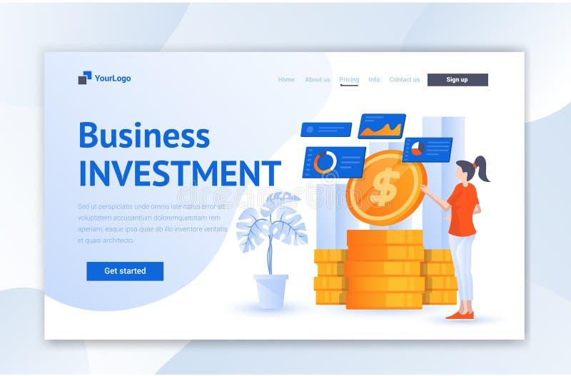 商业投资网Ui着陆页设计 现代平的例证传染媒介Ui模板 库存例证