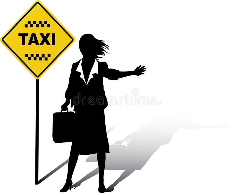 商业捉住出租汽车妇女 库存例证