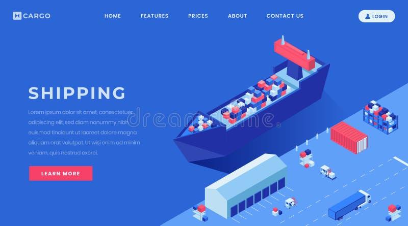 商业搬运器着陆页传染媒介模板 造船厂,港口网站主页与等量的接口想法 库存例证
