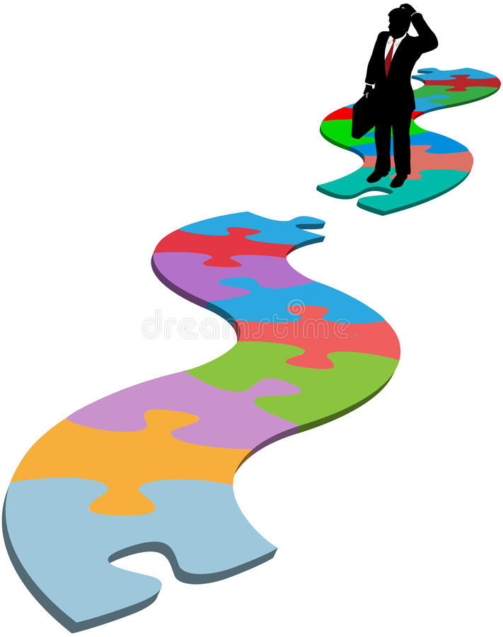 商业查找人缺少路径部分难题 向量例证