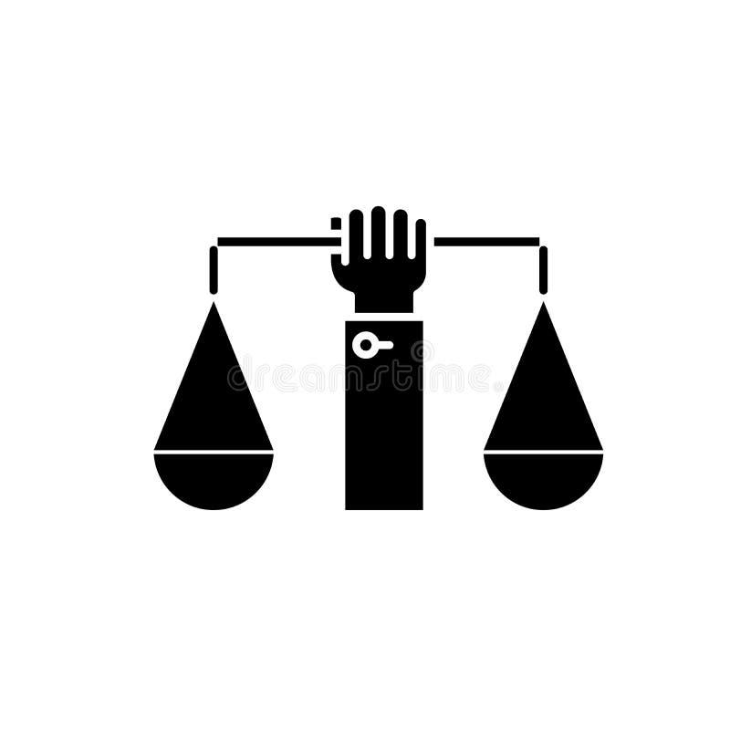 商业法平衡黑象,在被隔绝的背景的传染媒介标志 商业法平衡概念标志,例证 向量例证