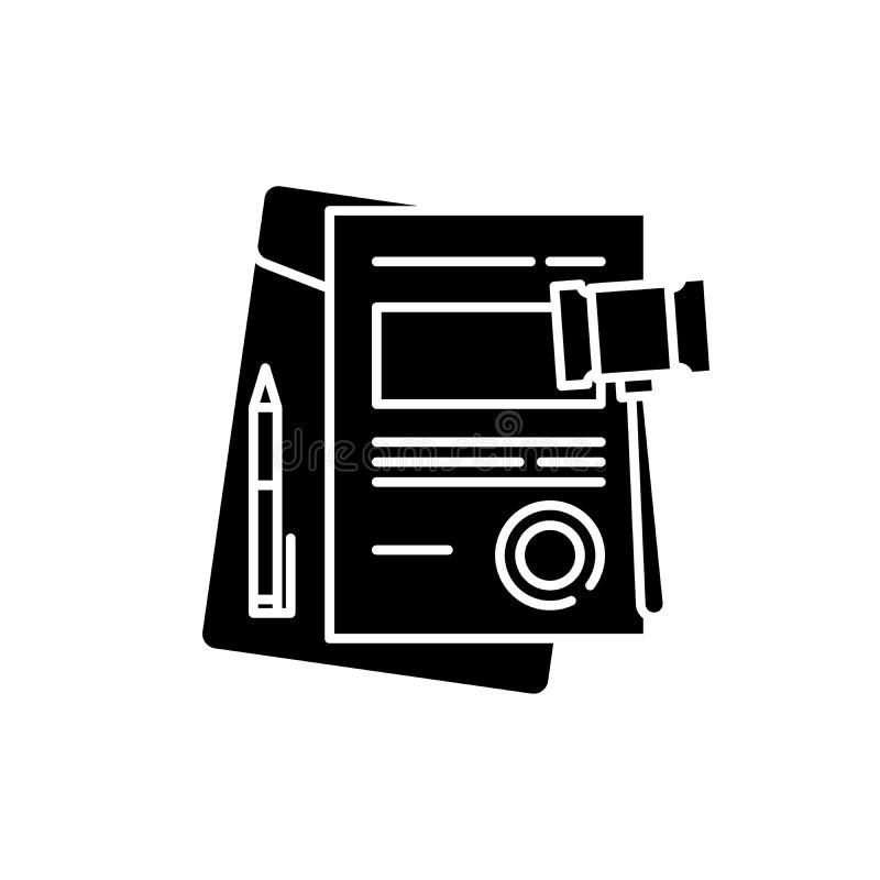 商业法黑色象,在被隔绝的背景的传染媒介标志 商业法概念标志,例证 皇族释放例证