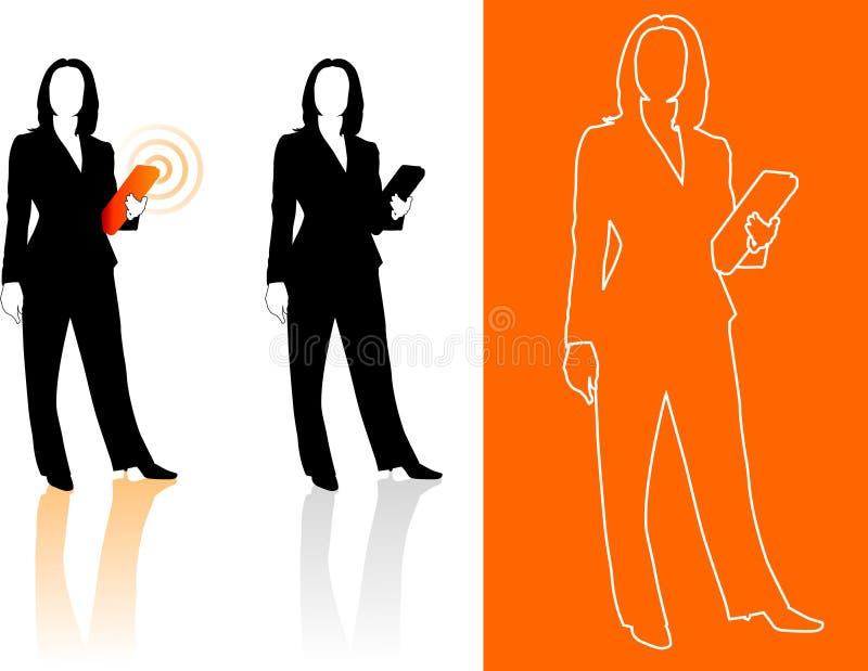 商业现出轮廓妇女年轻人 向量例证