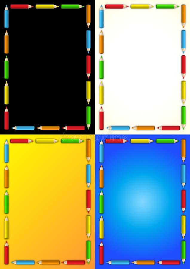 商业用蜡笔画框架模板 皇族释放例证