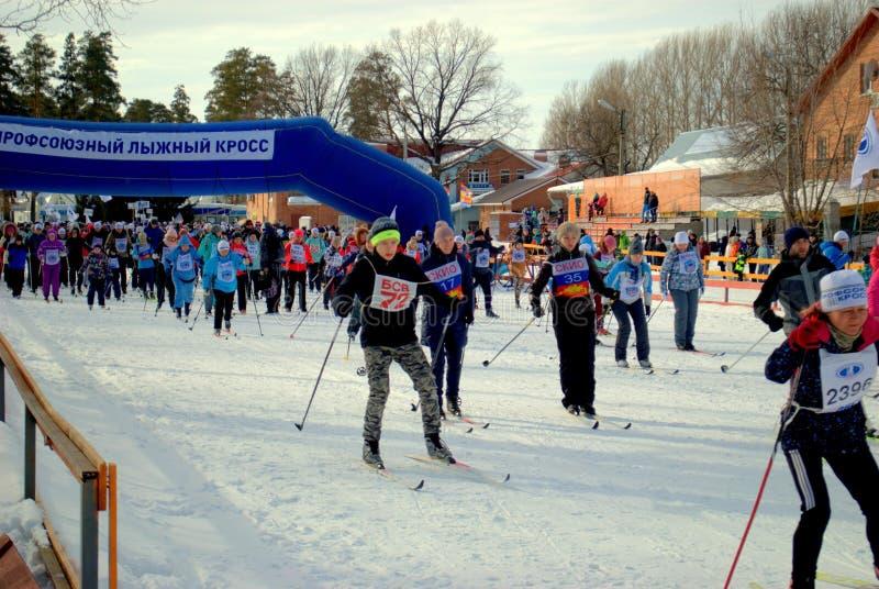 """商业种族的参加者的许多开始速度滑雪的""""俄罗斯的滑雪轨道2019"""" 库存图片"""