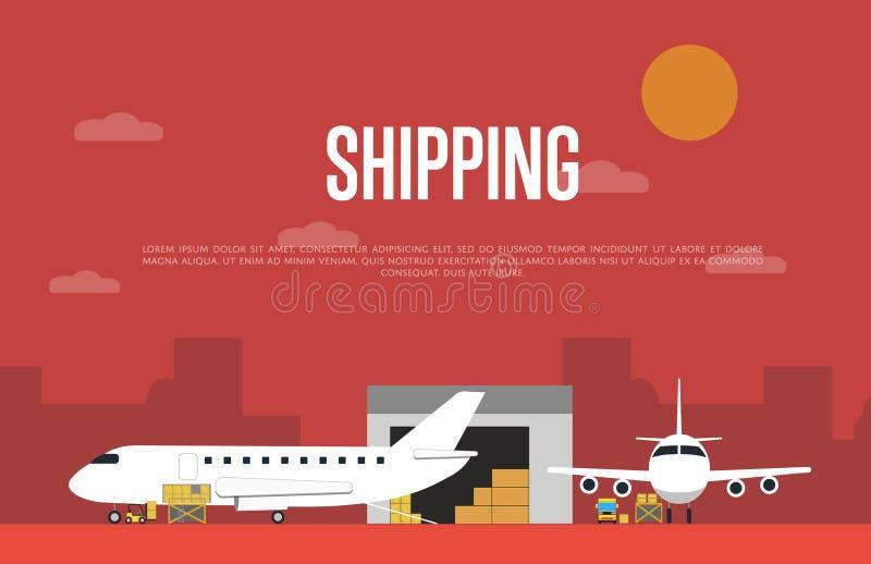 商业空气海运服务横幅 皇族释放例证