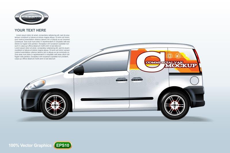 商业车搬运车模板 样品商标,编辑可能的布局 向量例证