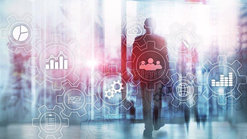 商业运作与齿轮和象的摘要图 工作流和自动化技术概念 库存例证
