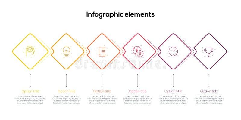 商业运作与6步rhombs的图infographics 正方形公司工作流图表元素 公司流程图介绍 皇族释放例证