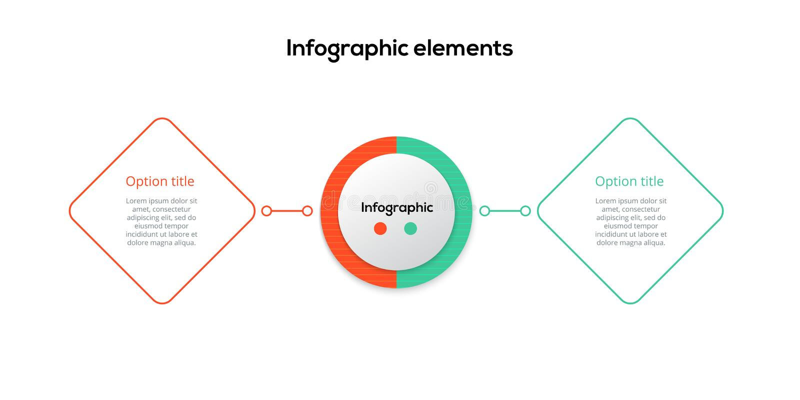 商业运作与2步rhombs的图infographics 正方形公司工作流图表元素 公司流程图介绍 向量例证