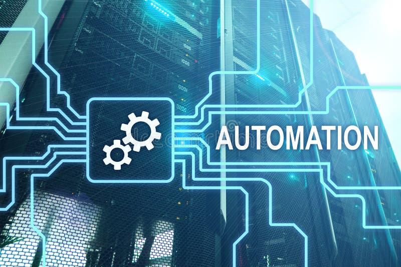 商业运作和创新技术的自动化在制造业中 互联网和技术概念在服务器室 库存照片