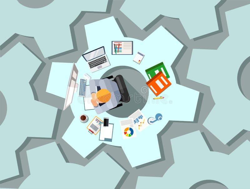 商业运作构思设计 与小配件的技术商人坐在书桌塑造了作为钝齿轮群策群力项目的 库存例证