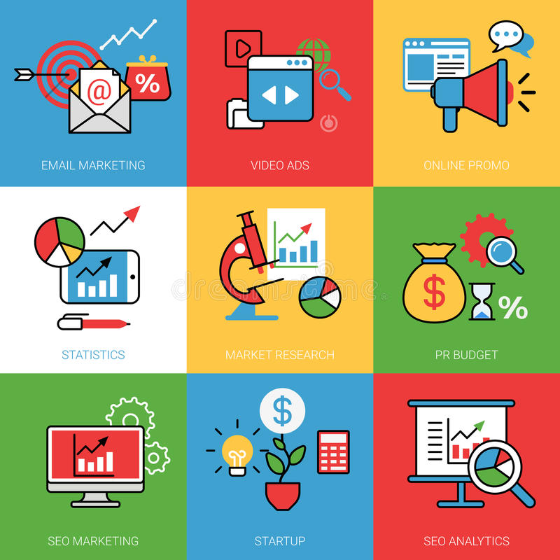 商业运作概念传染媒介例证集合线网图象 库存例证