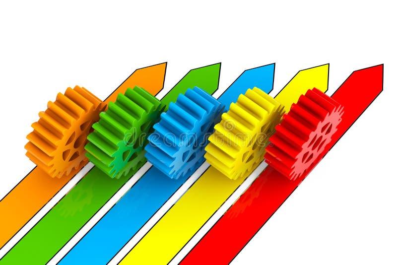 商业运作概念 在箭头的齿轮 向量例证