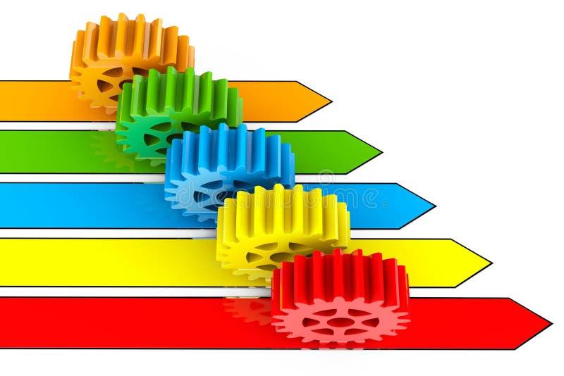 商业运作概念 在箭头的齿轮 皇族释放例证
