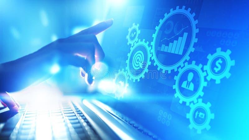 商业运作管理,自动化工作流,文件检验,用象技术概念连接了齿轮嵌齿轮 库存照片