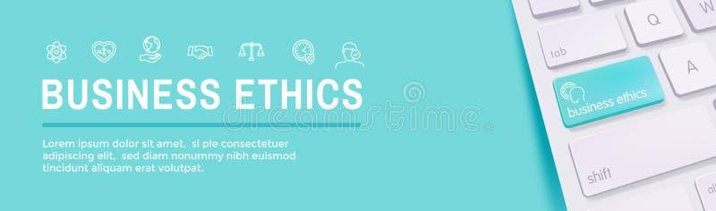 商业道德网横幅象设置与诚实,正直, Com 向量例证