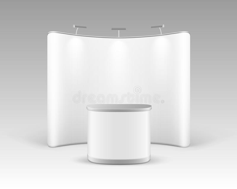 商业陈列突然出现介绍的立场与促进在白色背景和背后照明隔绝的柜台表 库存例证