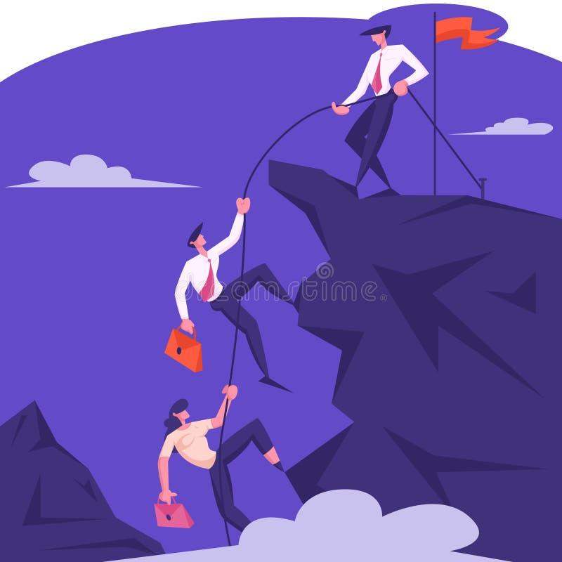 商业领袖字符帮助冠上的队攀登与被卷扬的红旗,与绳索拉扯队友的商人的岩石 皇族释放例证