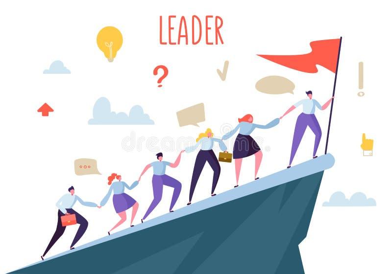 商业领袖概念 攀登顶面峰顶的平的人字符 配合和领导,与旗子的商人 库存例证