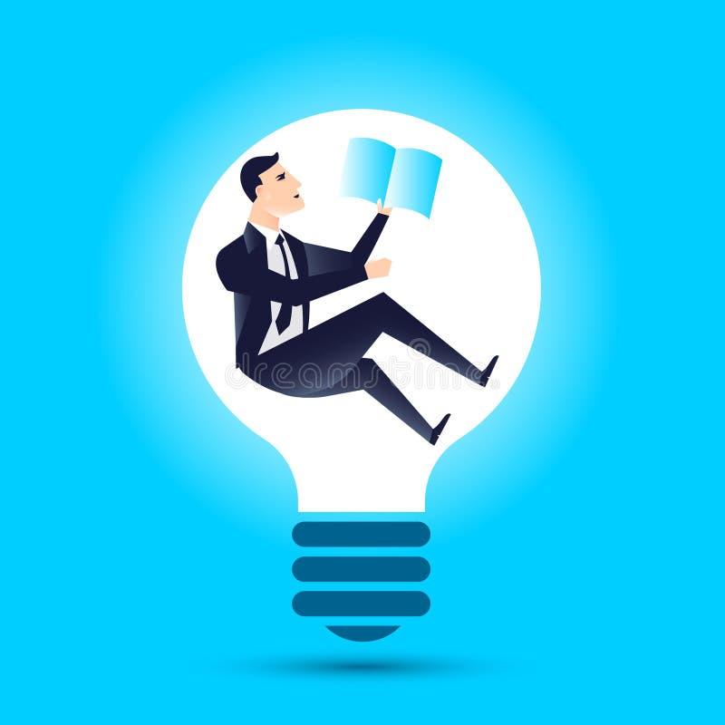 商业领袖财务经理有电灯泡想法 向量例证