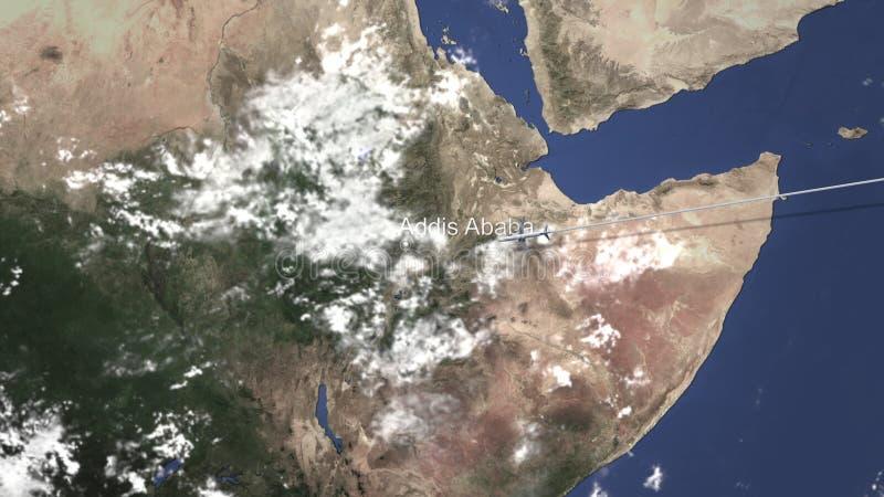 商业飞机飞行向亚的斯亚贝巴,埃塞俄比亚,3D翻译 库存例证