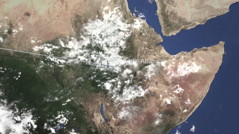 商业飞机飞行向亚的斯亚贝巴,埃塞俄比亚 3d翻译 库存例证