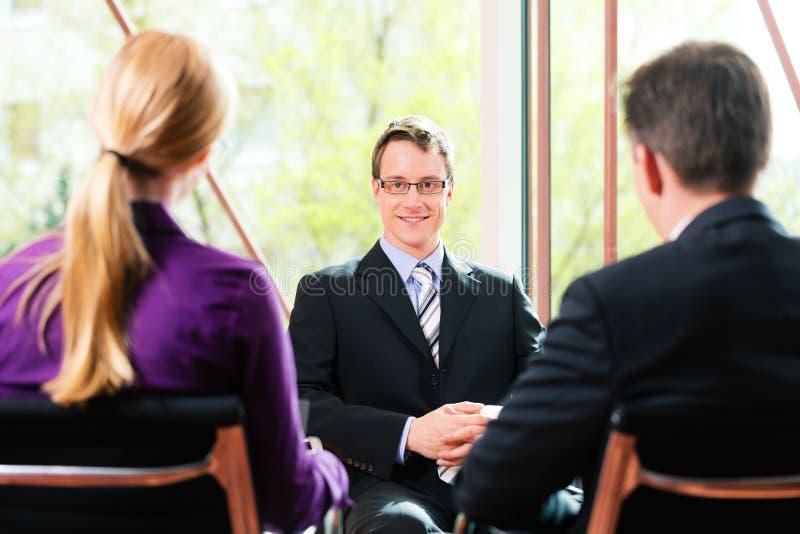 商业-与HR和申请人的工作面试 免版税库存照片
