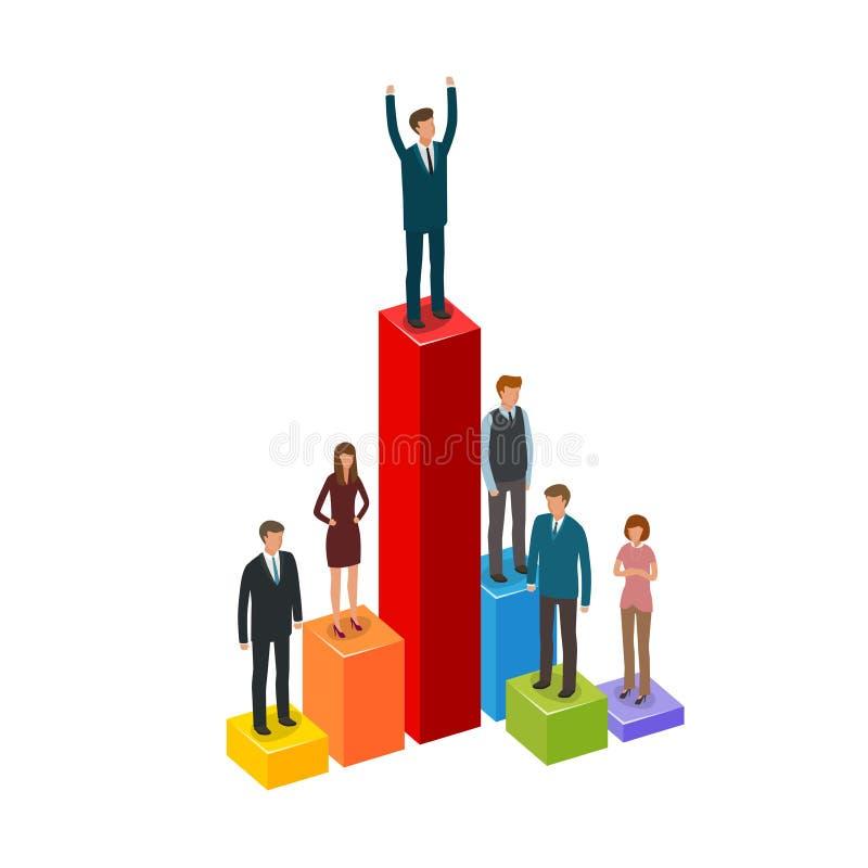 商业Infographics 事业,成就,推进,商人概念 皇族释放例证