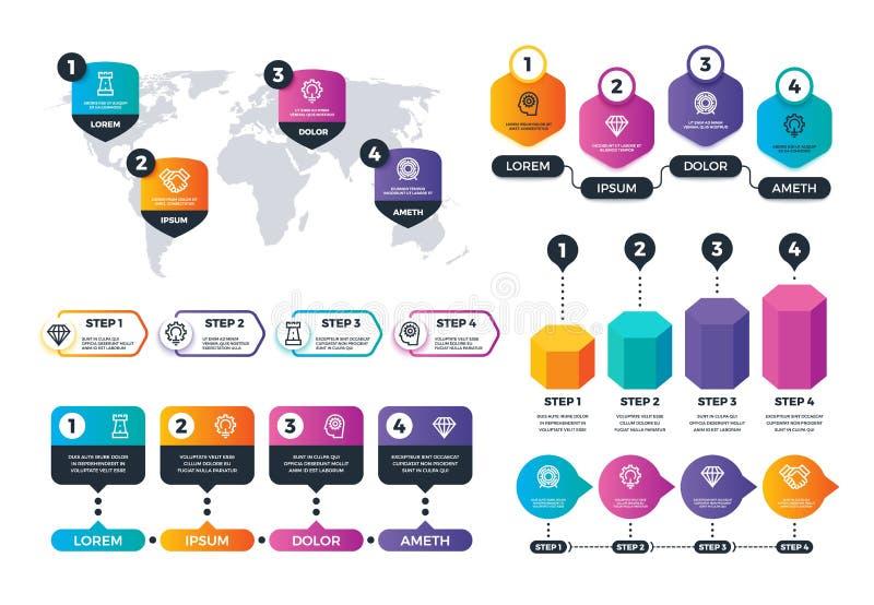 商业Infographics 状态结构元素,目标群图 处理地图和图传染媒介集合 库存例证