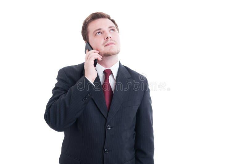 商人、会计或者财政经理谈话在响度单位 免版税图库摄影